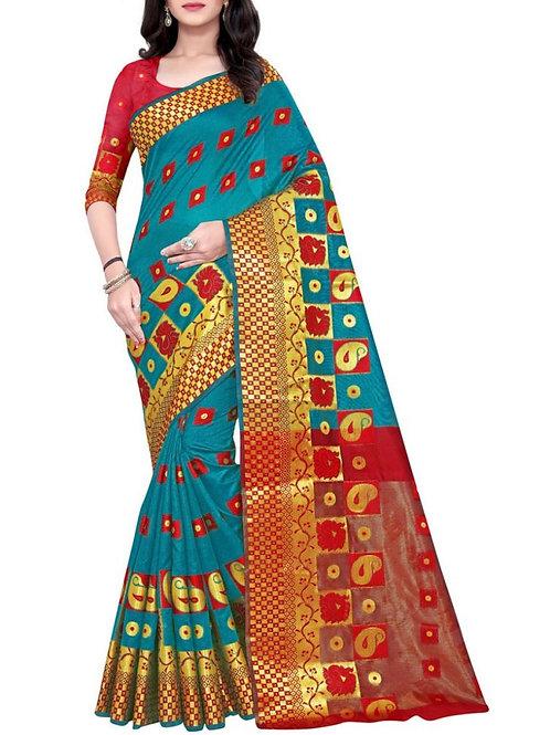 Amazing Rama Cotton Jacquard Saree