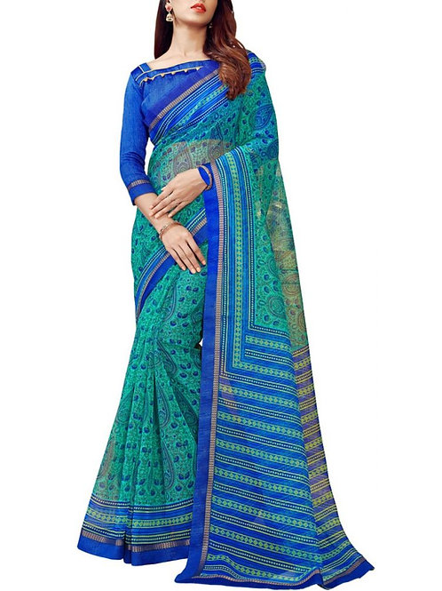 Fashionable Sea Green Color Unique Sarees Online