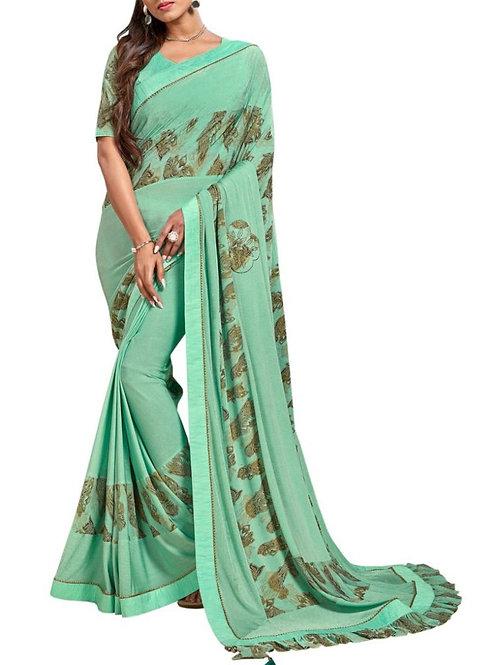Engaging Light Sea Green Printed Silk Sarees