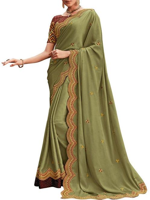 Pleasing Light Mehendi Fancy Party Wear Saree