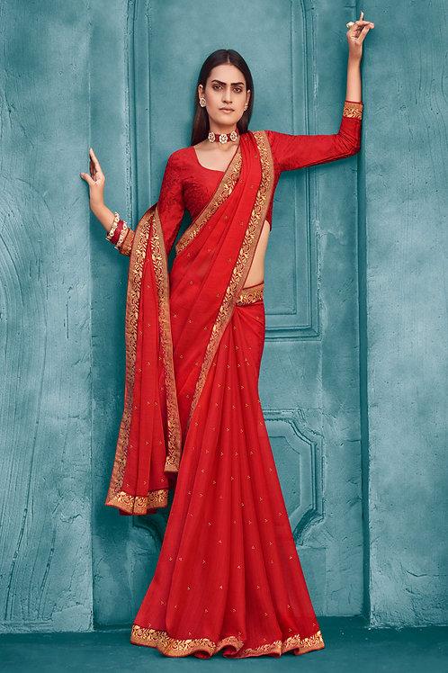 Beautiful Fancy Red Silk Saree