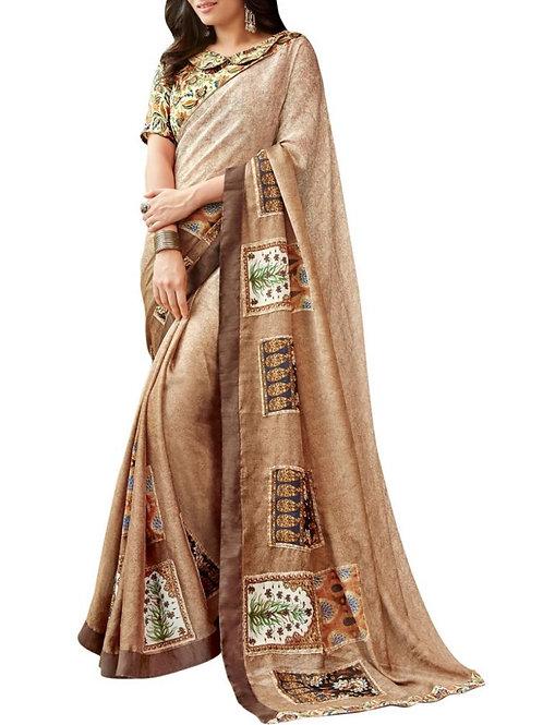 Buy Beige Color Chiffon Saree Online