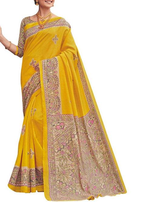 Enchanting Yellow Online Saree Purchase