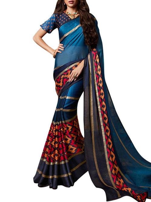 Exhilarant Blue Color Bollywood Sarees