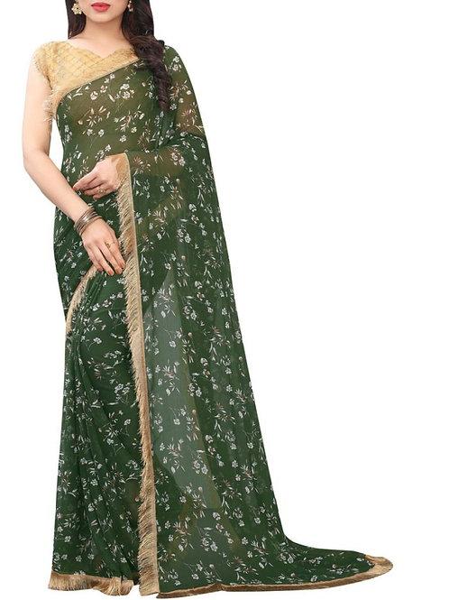 Perfect Dark Green Beautiful Sarees Online