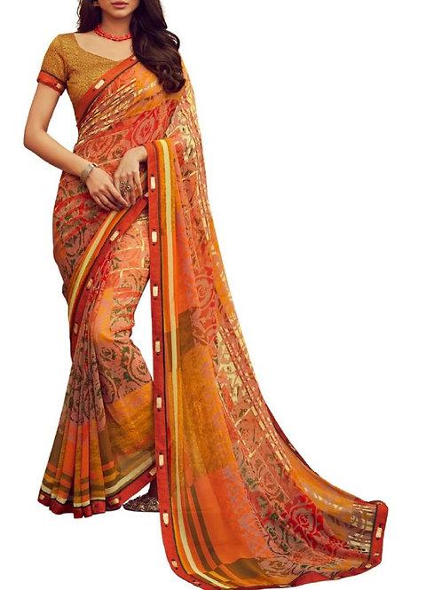 Graceful Orange Latest Saree