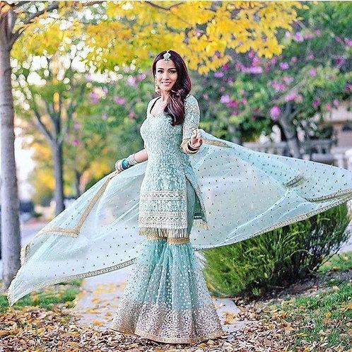 Radiant Sky Blue Color Designer Sharara Suit