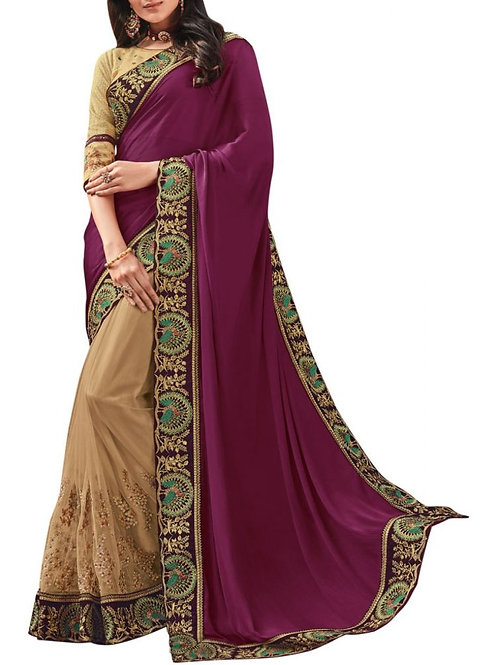 Amazing Purple And Cream Latest Party Wear Sarees With Price