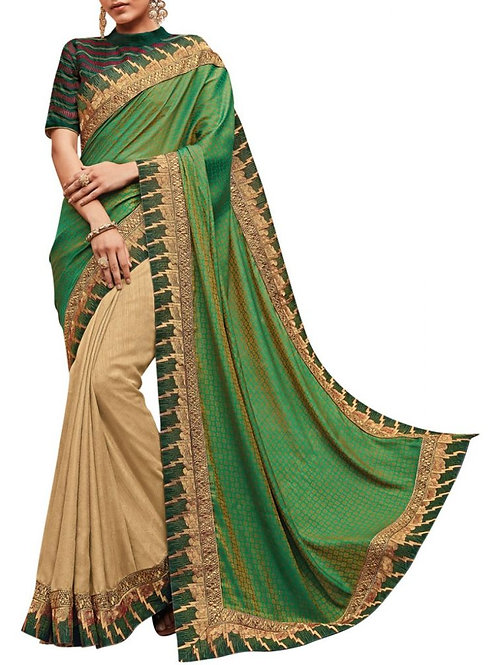 Heavenly Green And Cream Party Wear Sarees