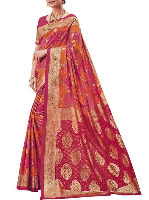 Adorable Pink Printed Silk Saree