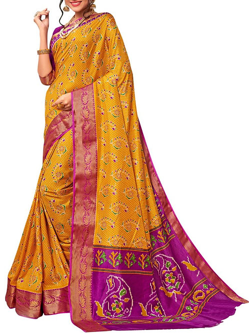 Astonishing Yellow Color South Indian Saree