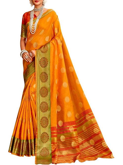 Gorgeous Yellow Indian Saree Design