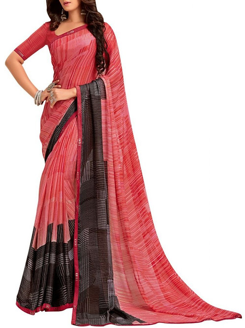 Beyond Belief Pink And Black New Trendy Sarees