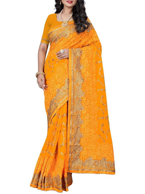 Chic Mustard Color Fancy Sarees Online