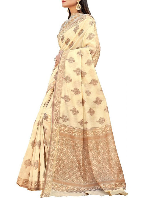 Mind-Blowing Off White Color Designer Sarees Online With Price