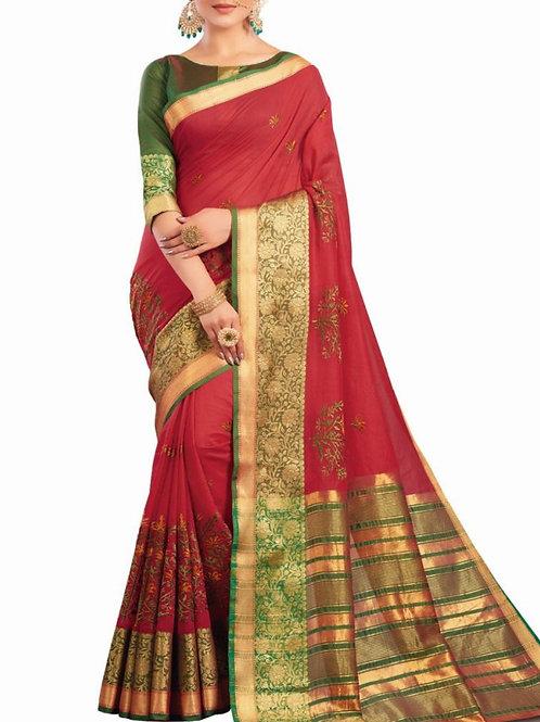 Charming Red Color Buy Designer Saree