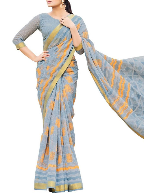 Eye-Popping Light Grey Color Fashion Sarees Online