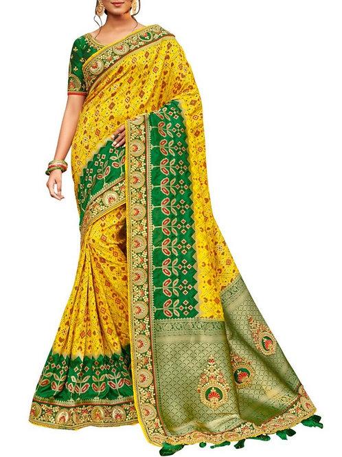 Delightful Yellow Unique Saree Design