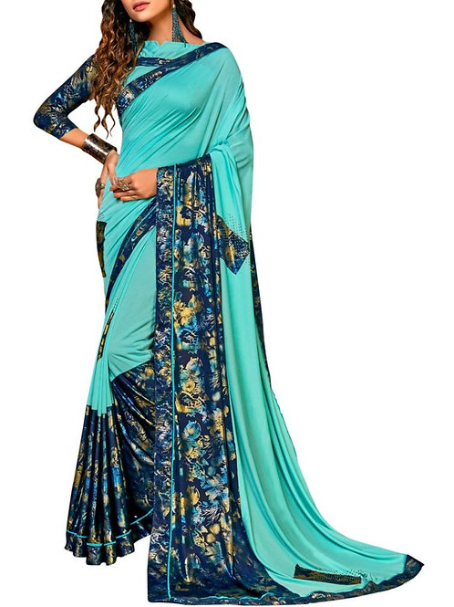 Graceful Sky Blue Beautiful Sarees Online