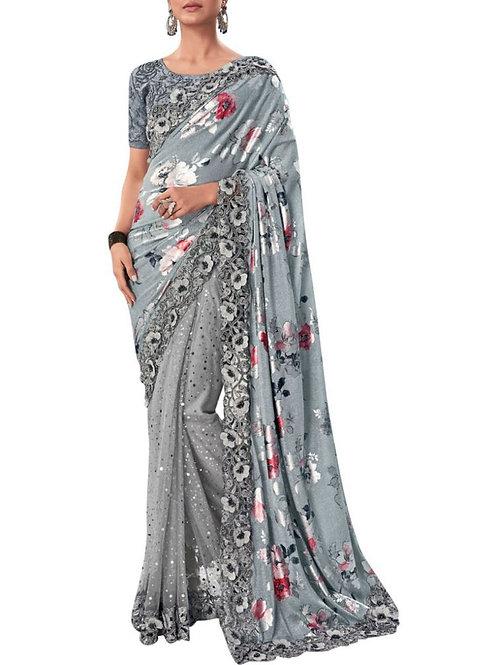 Audacious Grey Ladies Saree