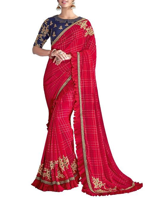 Awe-Inspiring Fancy Red Color Beautiful Sarees