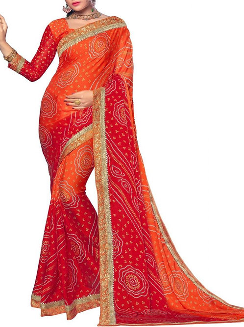 Moving Orange Color Indian Traditional Sarees Online Shopping