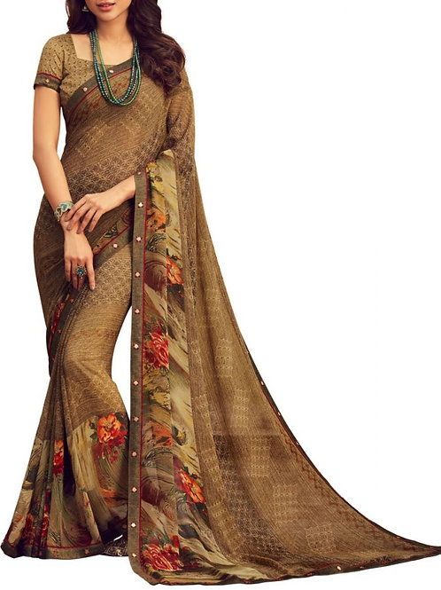 Lovely Brown Fancy Saree