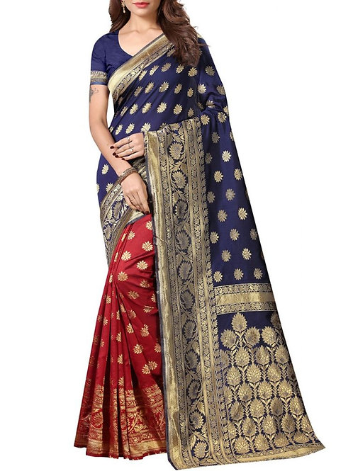 Gratifying Navy Blue And Red Latest Sarees With Price