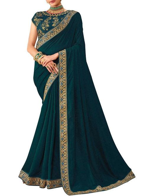 Glorious Teal Green Wedding Sarees Online