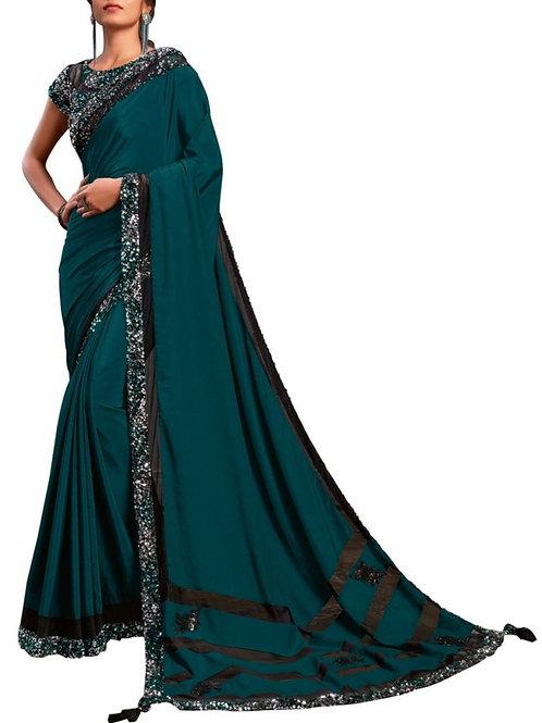 Magnificent Teal Blue Indian Saree Design