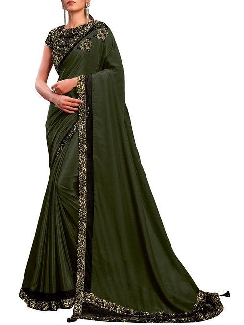 Graceful Olive Green Fancy Designer Saree