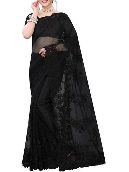 Breathtaking Black Bengali Saree