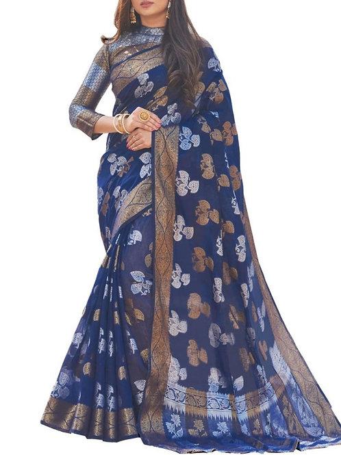 Pleasurable Blue Color Fancy Sarees Online
