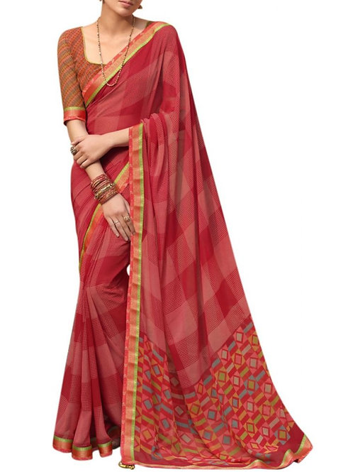 Excellent Red Printed Georgette Saree