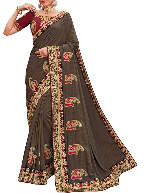 Exhilarant Brown Party Sarees With Price