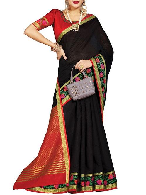 Enjoyable Black Color South Indian Wedding Sarees