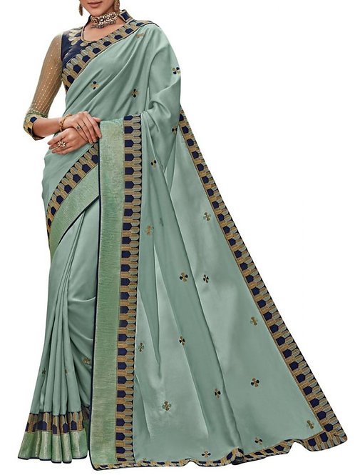 Agreeable Light Green Party Wear Fancy Saree
