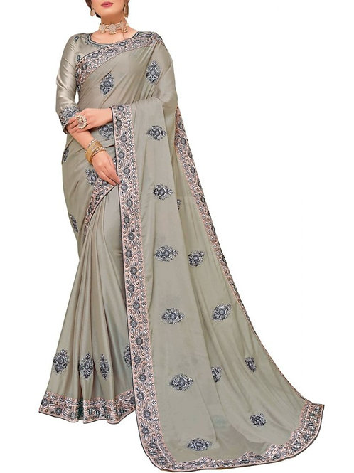 Amazing Grey Bollywood Designer Party Wear Sarees