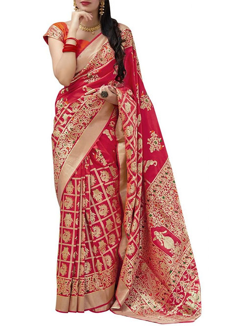 Heart-Stopping Red Pure Silk Saree