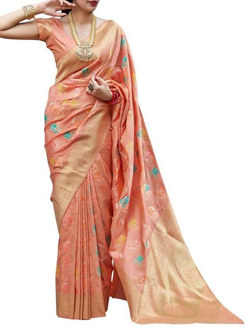 Fabulous Light Orange Wedding Sarees