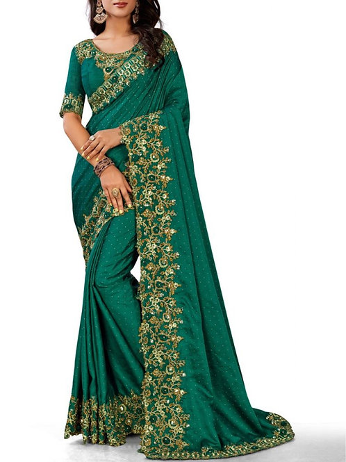 Out Of This World Teal Green Bridal Sarees With Price