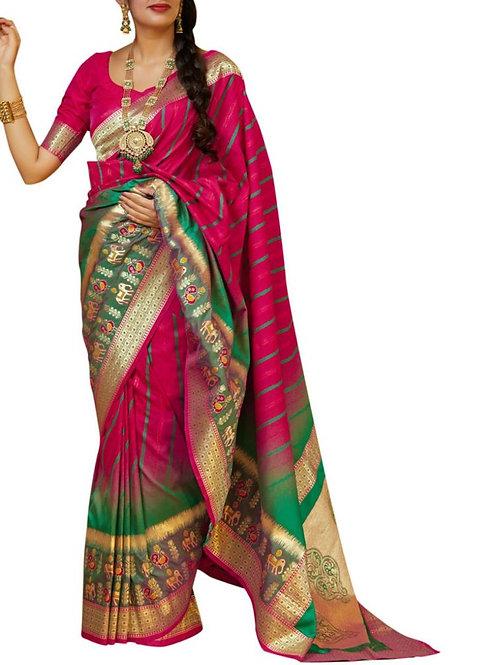 Comely Rani Pink Latest Pattu Sarees