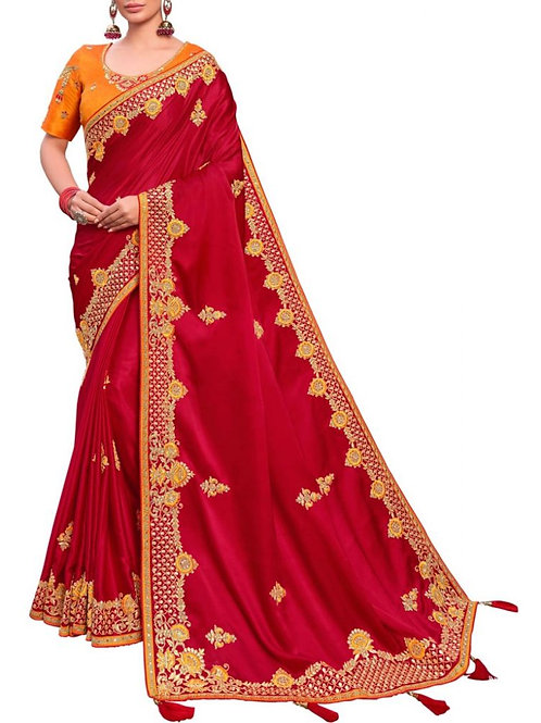 Astonishing Red Gorgeous Sarees Online Shopping