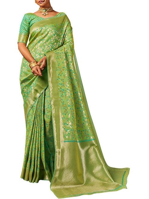 Mind-Blowing Pista Pure Silk Sarees Online