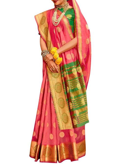Majestic Pink Jacquard Saree