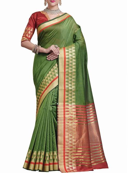 Adorable Mehendi Green Color Ladies Saree With Price