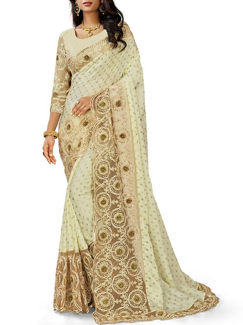 Heart-Stirring Off White Indian Party Saree