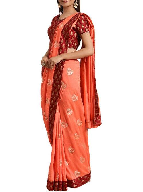 Enthralling Orange Bengali Saree