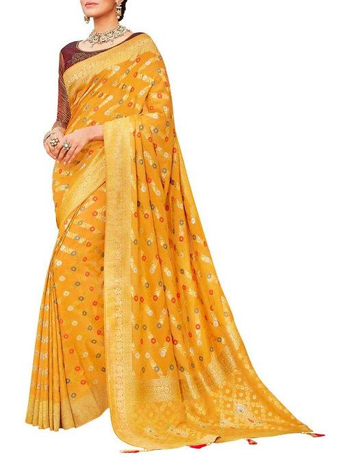 Graceful Yellow Womens Saree Online Shopping