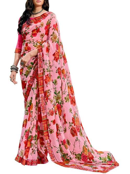 Engaging Pink Rajasthani Saree